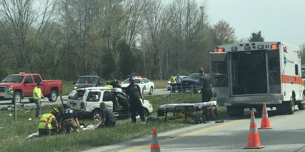 Five people were injured in a rollover crash on I-65 in Clark County. (Photos courtesy Daniel Richard)