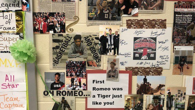 Cathy Stoner, Romeo Langford's second-grade teacher, made this collage for Romeo Langford, her former student