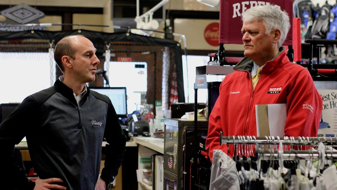 Rick Bozich with Allen Krebs of Kratz Sporting Goods. (WDRB photo by Eric Crawford)