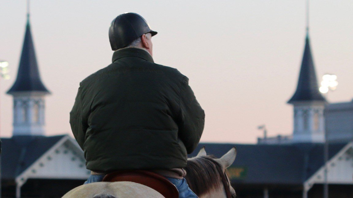 D. Wayne Lukas watches Bravazo, the 49th horse he'll enter into the Kentucky Derby, work at Churchill Downs. (WDRB photo by Eric Crawford)