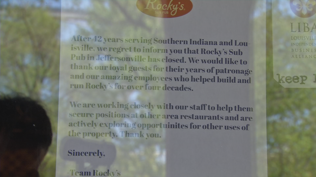 A sign on the door at Rocky's Sub Pub says it's permanently closed.