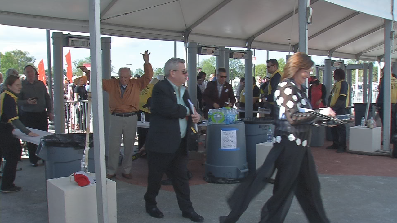 The new paddock gate has multiple turnstiles to keep lines moving at Churchill Downs.