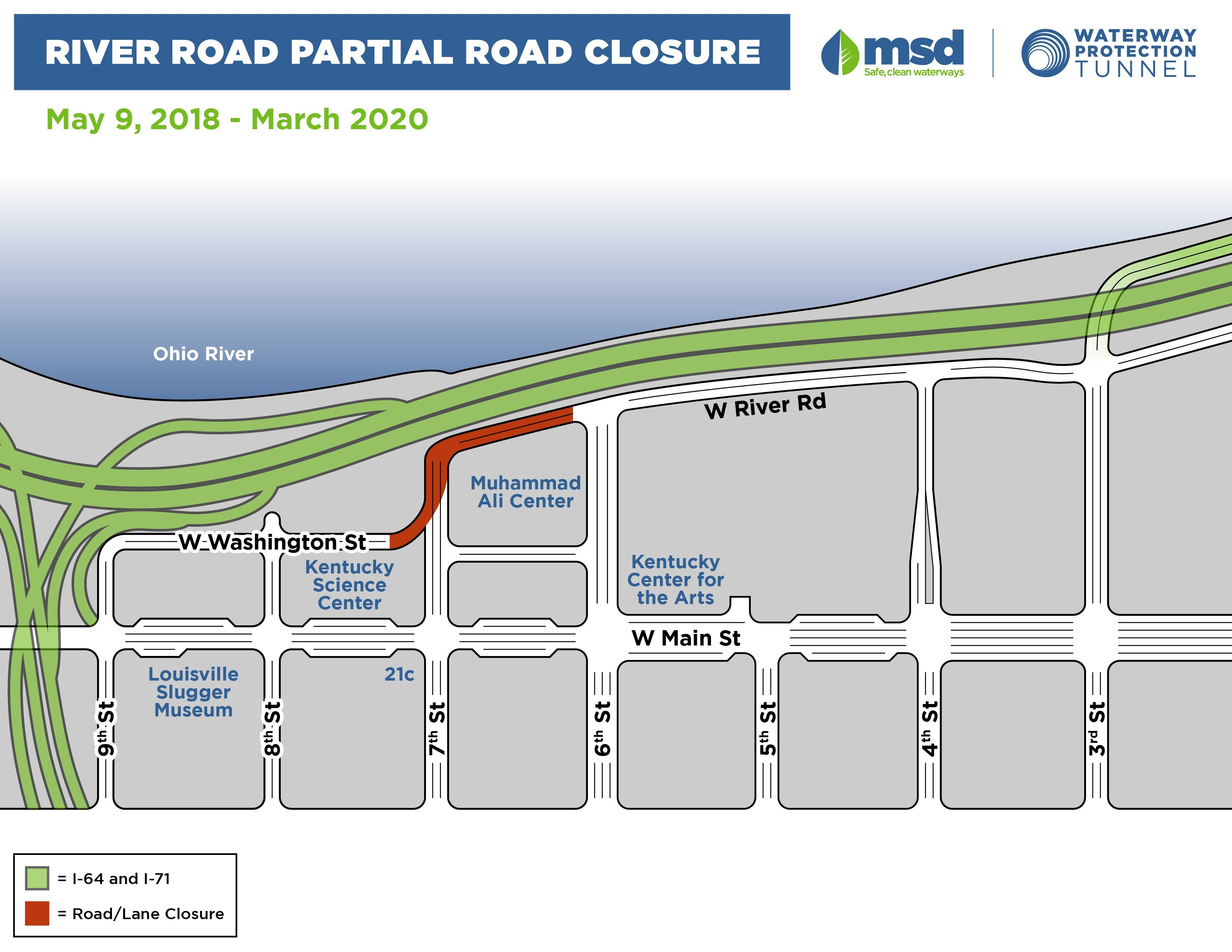 River Road will close May 9, 2018 through 2020 for MSD's waterway tunnel project.