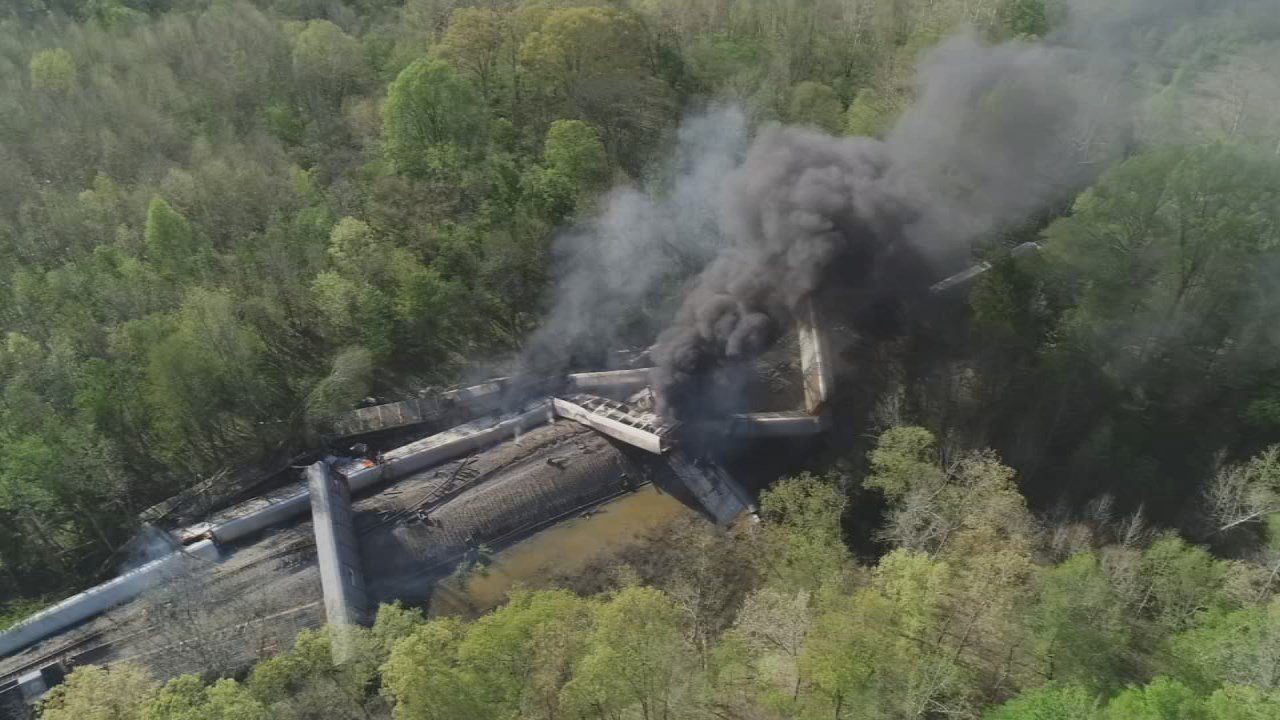 Officials said the train was not carrying any hazardous materials, but it was carrying vehicles.