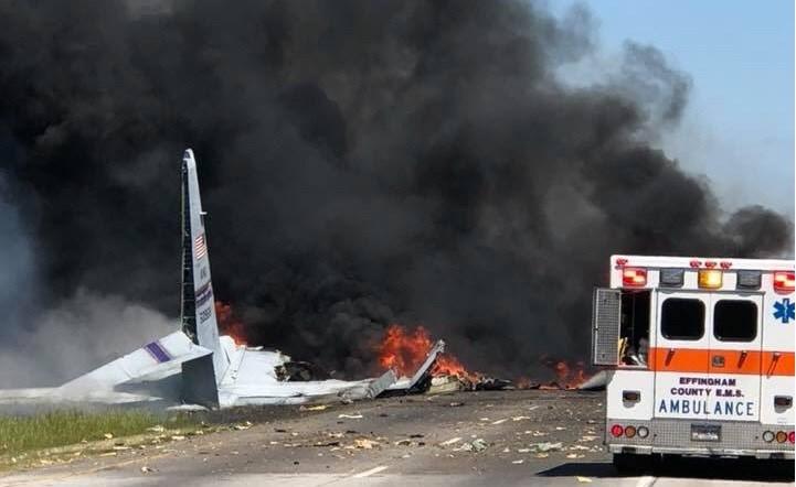 A C-130 military aircraft crashed near Savannah, Georgia  on Wednesday morning.  Courtesy Savannah Professional Firefighters Association
