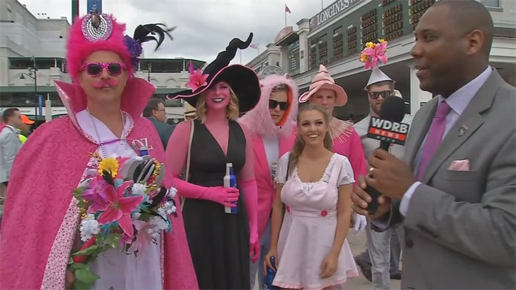Racing fans showed up in pink for the Kentucky Oaks at Churchill Downs.