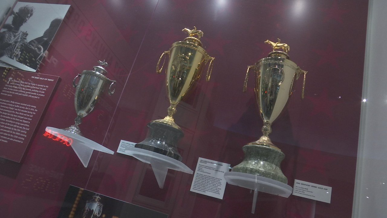 "The horseshoe handles of the Kentucky Derby trophy point up, so the ""luck"" doesn't run out."