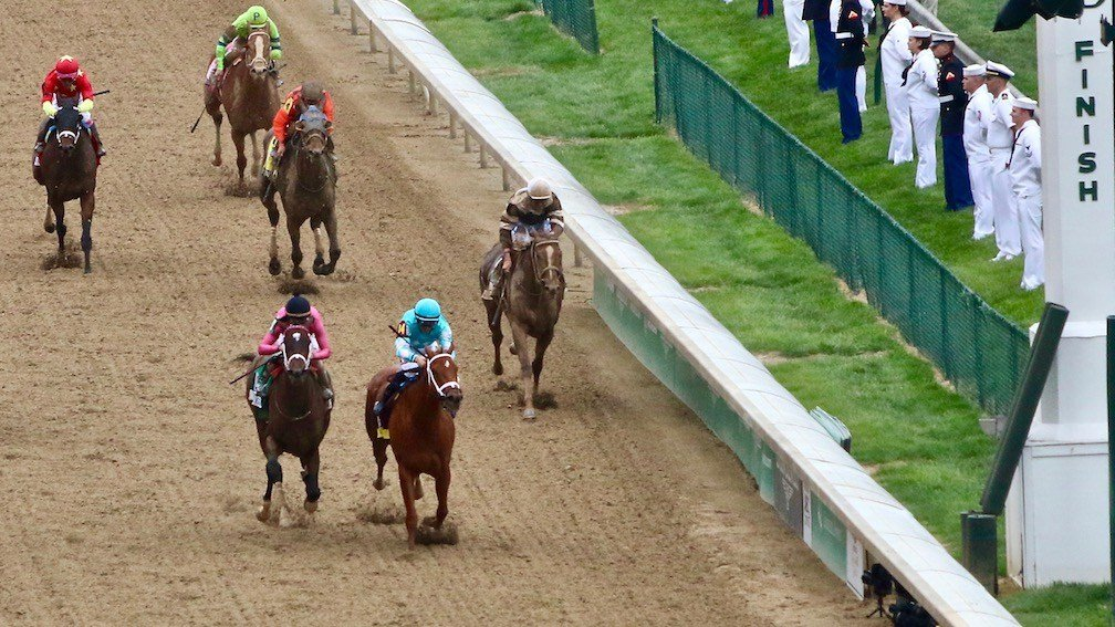 Monomoy Girl hits the wire first to win the Kentucky Oaks (WDRB photo by Eric Crawford)