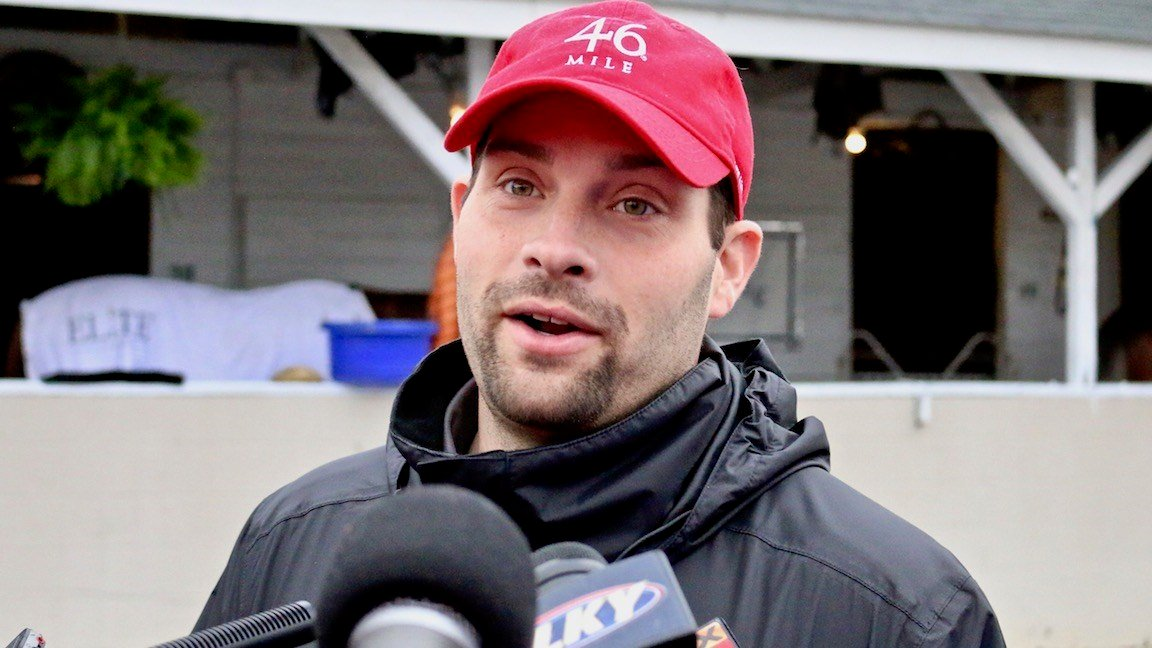 Louisville native Brad Cox won the Kentucky Oaks in his first try (WDRB photo by Eric Crawford)