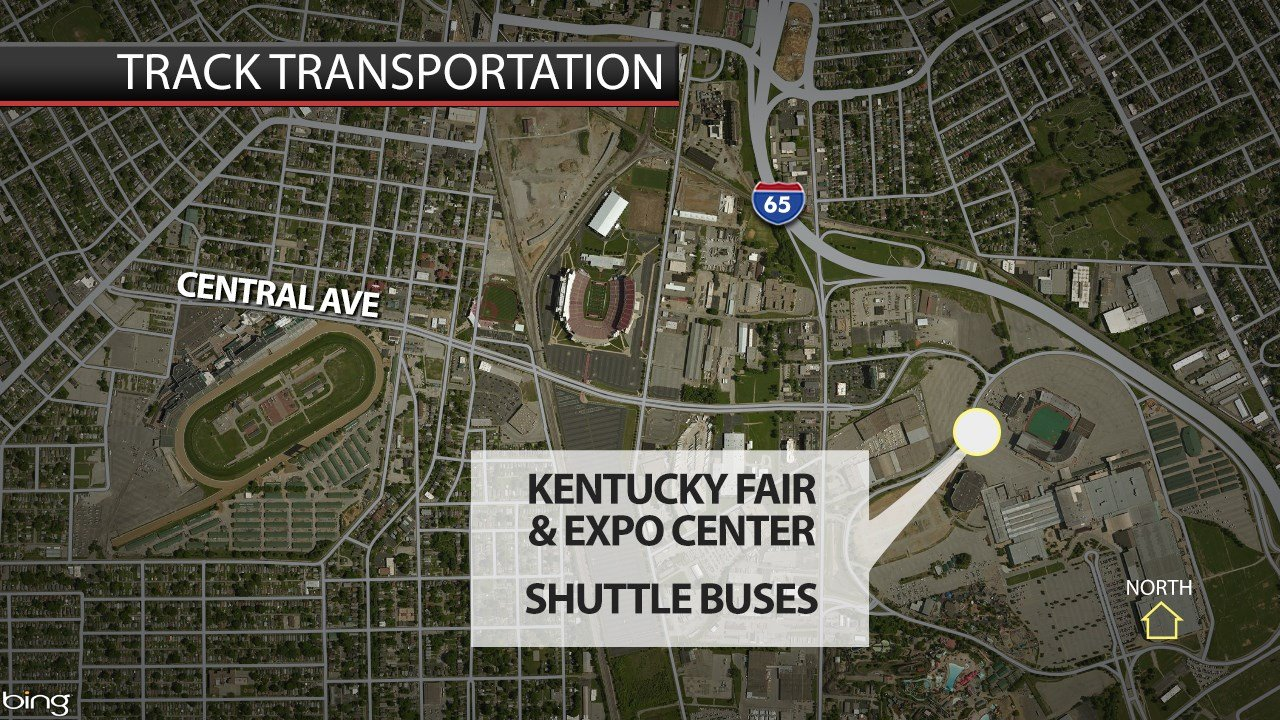 Churchill Downs ticketholders can park at the Kentucky Expo Center and take a shuttle to the track.