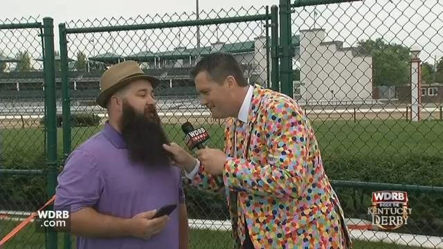 Keith Kaiser met a man in the Infield, and he just had to touch his beard!