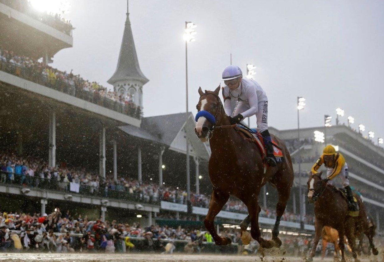 Justfiy ran like a Triple Crown while winning the Kentucky Derby by nearly three lengths Saturday at Churchill Downs. (AP photo)