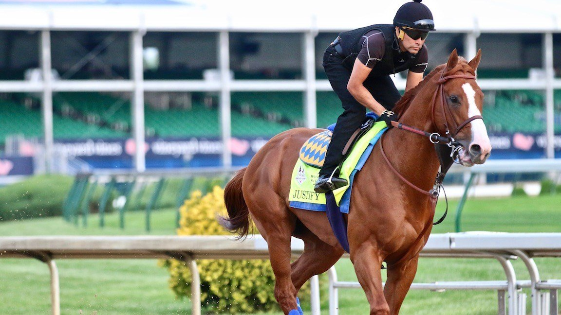 Justify in training for the Kentucky Derby (WDRB photo by Eric Crawford)