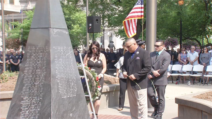 Family and fellow LMPD officers gathered at Jefferson Square to honor fallen Officer Nick Rodman.