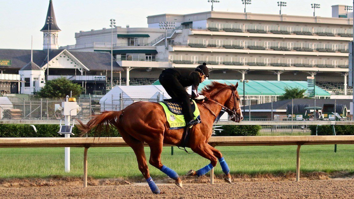 Kentucky Derby winner Justify returned to the track on Thursday. (WDRB photo by Eric Crawford)