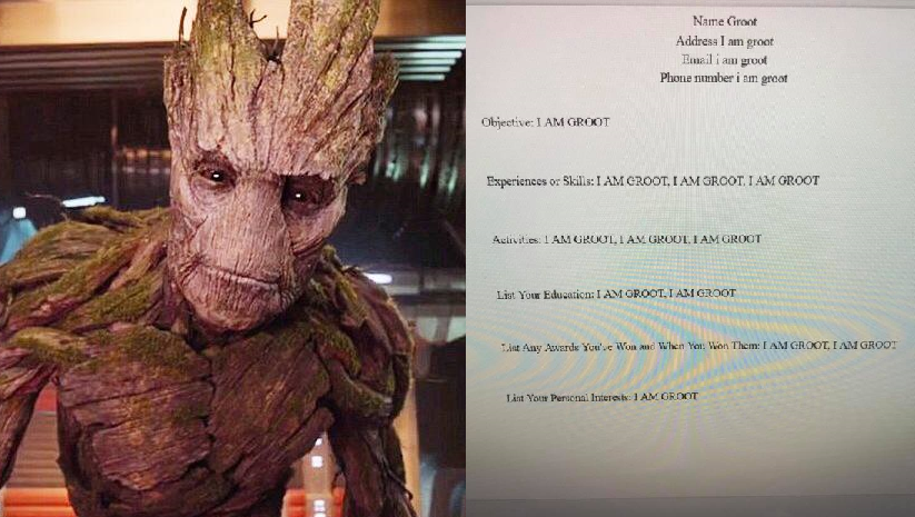 "A Texas student earned an 'A' by coming up with an ""I am Groot"" resume and cover letter."