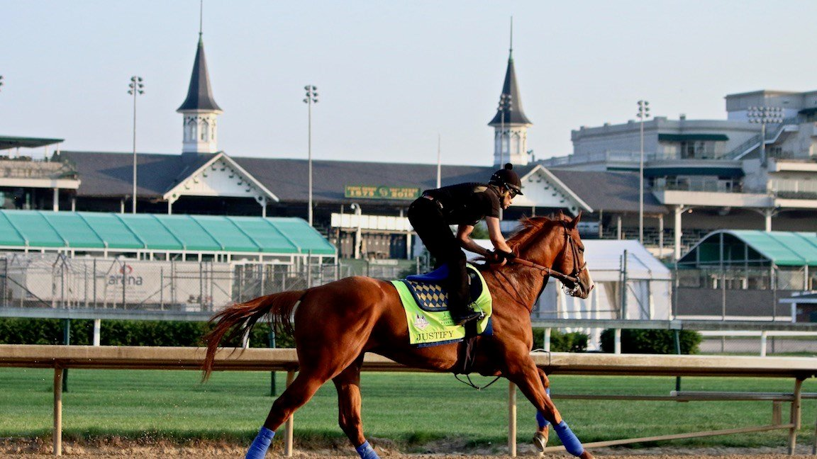 Justify gallops under the Twin Spires on Monday morning at Churchill Downs. (WDRB photo by Eric Crawford)