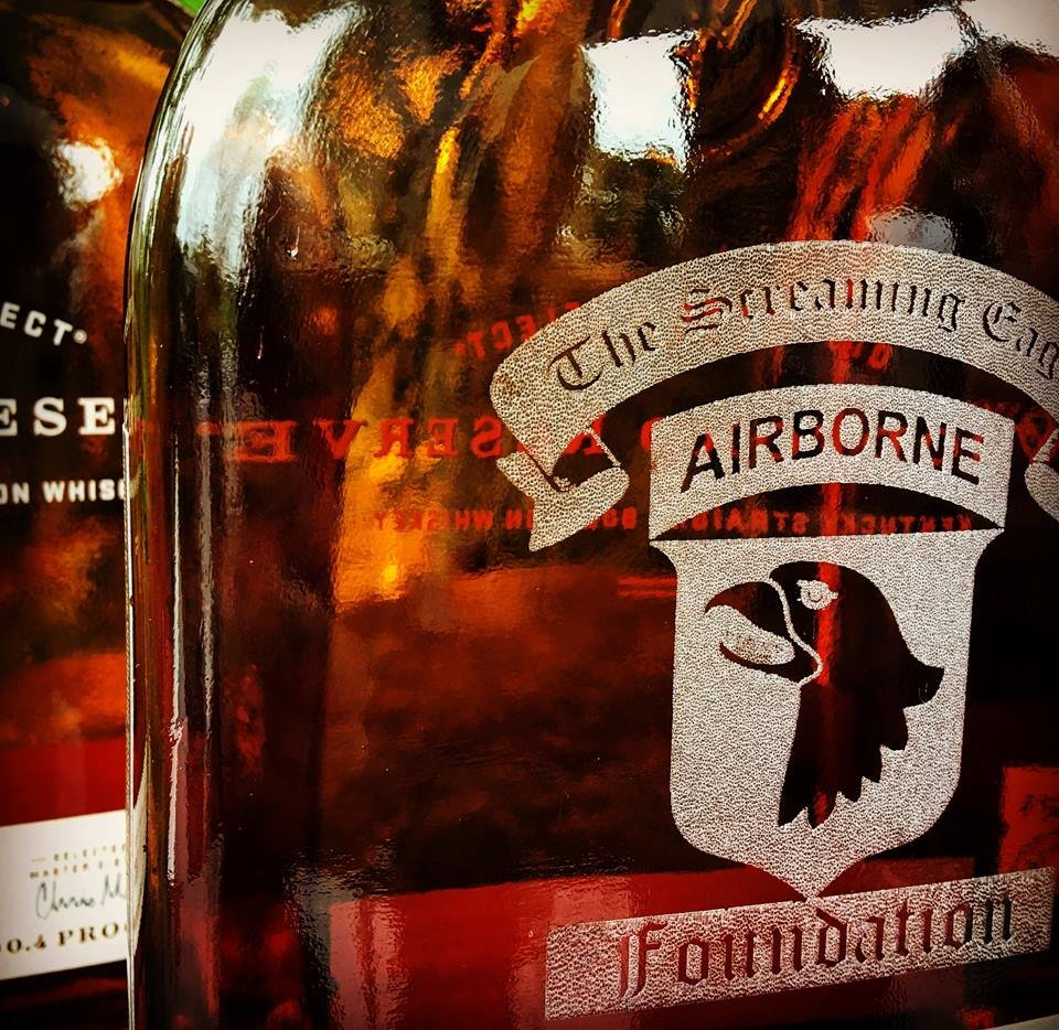 Woodford Reserve special edition Screaming Eagles Foundation bottle.