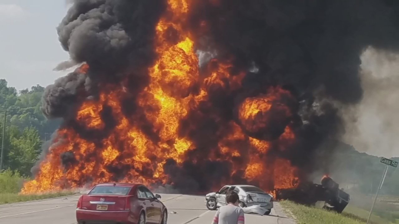 A semi truck filled with gasoline caught firein Rockcastle County, Kentucky, Sunday, and witnesses say the only reason the driver is still alive is an anonymous hero who wouldn't give up until he was pulled to safety.