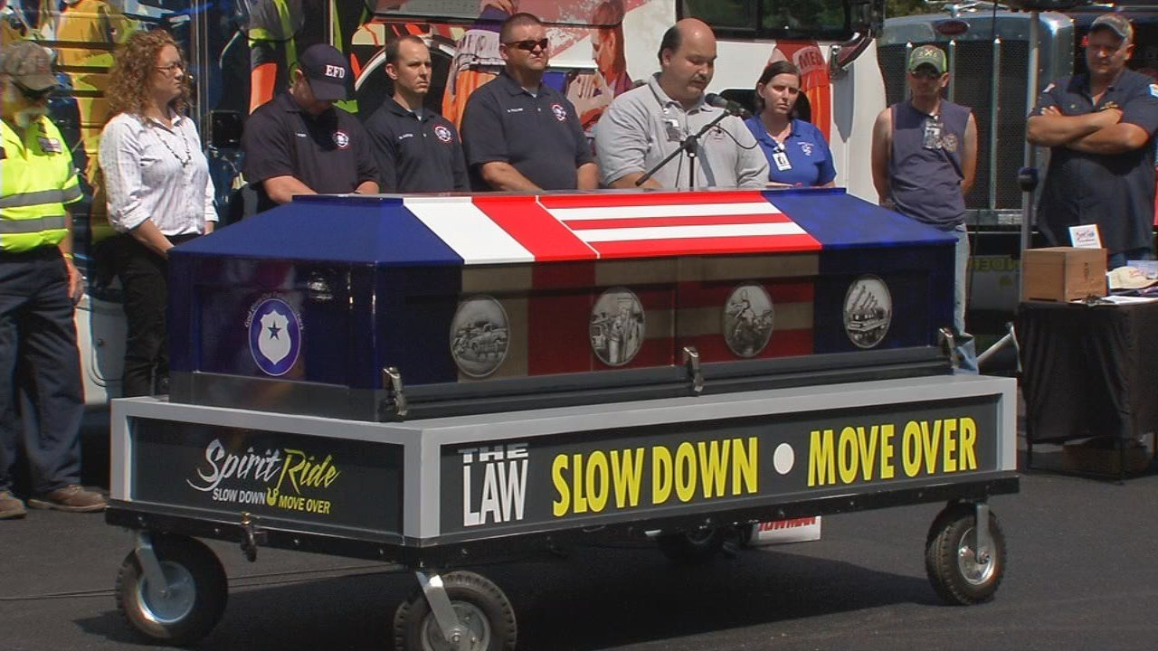 This casket is part of the Spirit Ride national tour and symbolizes the deaths of first responders helping others on the side of the road.