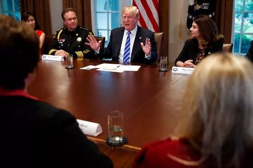 President Donald Trump speaks during a roundtable on immigration policy in California in the Cabinet Room of the White House Wednesday