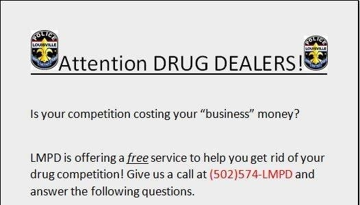 "LMPD social media post offers ""free service"" to eliminate drug dealers' competition."