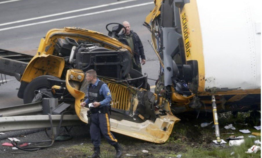 Two people were killed and 43 injured in a New Jersey crash between a school bus and dump truck.