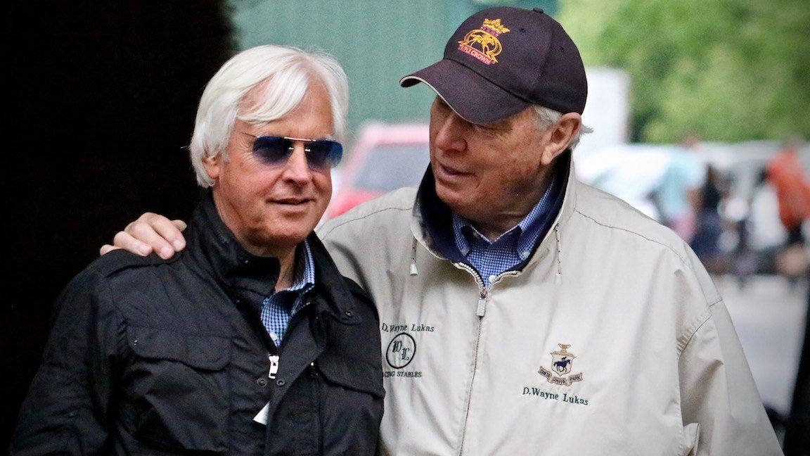 Wayne Lukas and Bob Baffert outside the Pimlico Stakes barn. (WDRB photo by Eric Crawford)