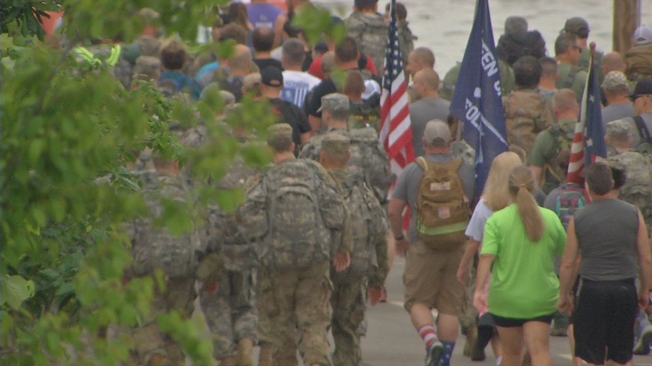 Several walkers wore backpacks with weights in them, to symbolize the struggle many veterans go through.