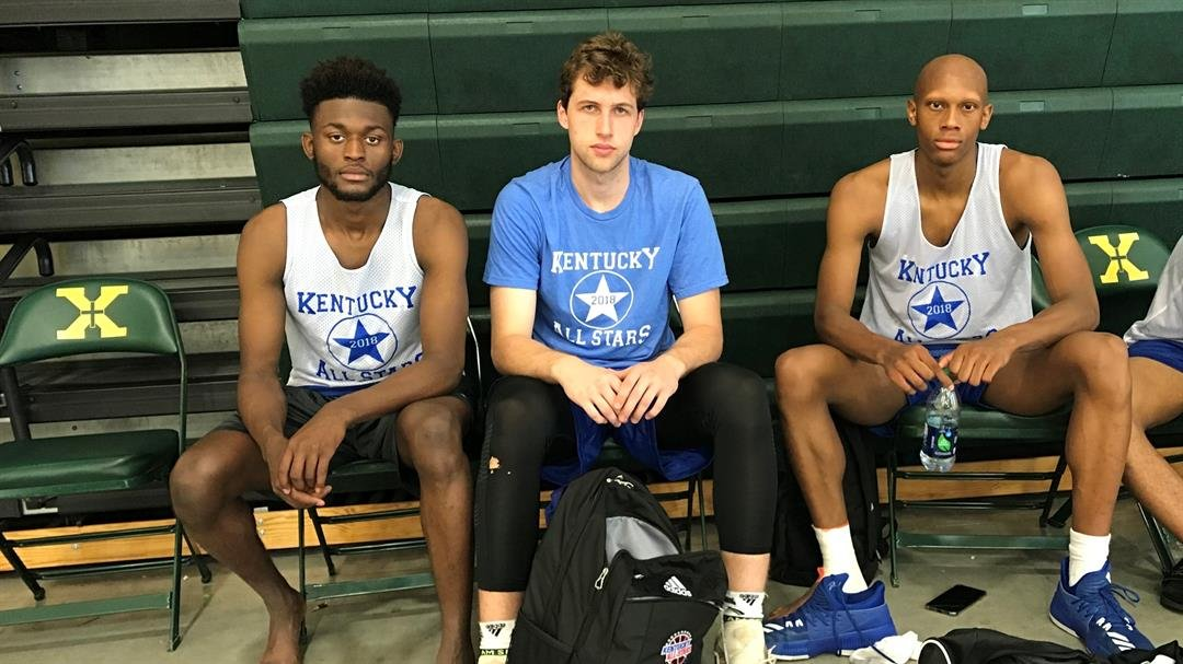 Kentucky all-stars Trevon Faulkner (from left), Pierce Kiesler and Mickey Pearson played AAU basketball with Indiana Mr. Basketball Romeo Langford last summer. (Rick Bozich photo)