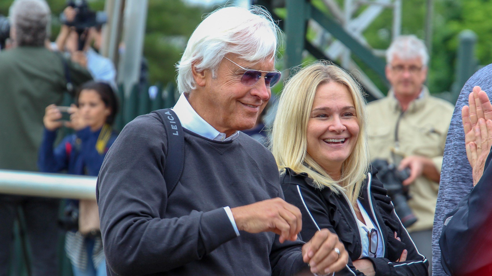 Trainer Bob Baffert, with wife, Jill, reacts to Justify's first Belmont gallop on Thursday (WDRB photo by Eric Crawford)