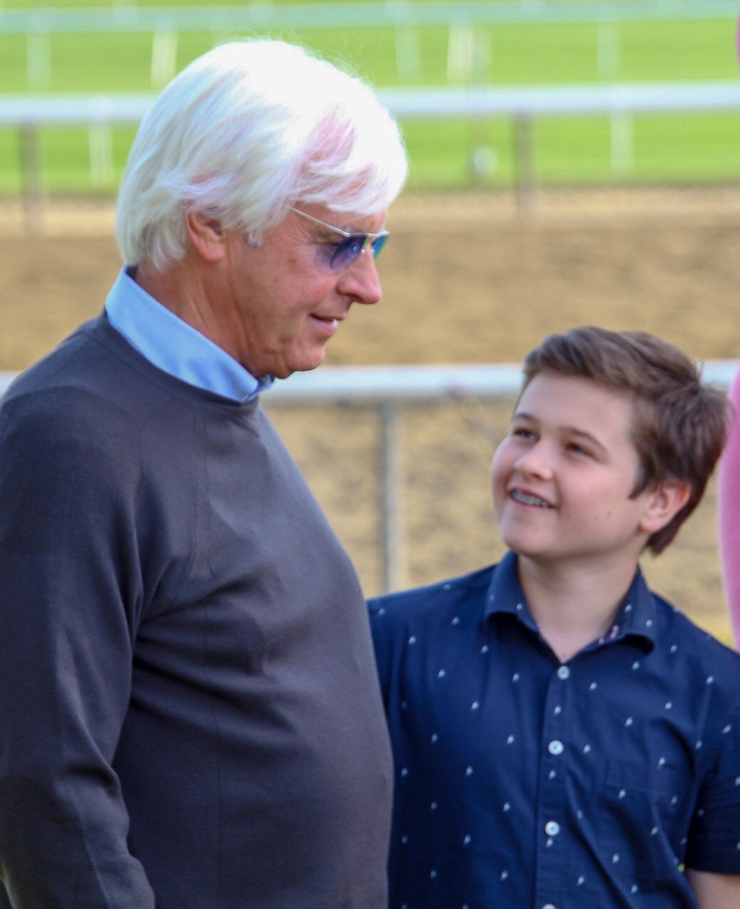 Bob Baffert and his son Bode at Belmont Park. (WDRB photo by Eric Crawford)
