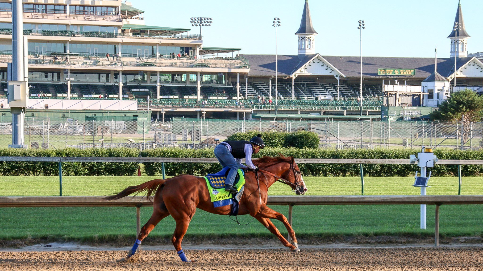 Justify trains at Churchill Downs (WDRB photo by Eric Crawford)