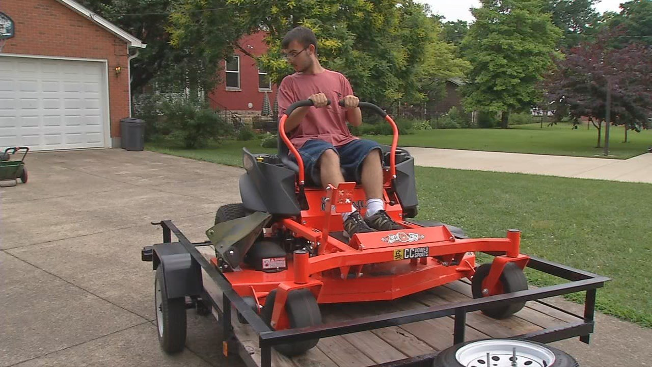 Michael Bonza can continue his lawn business with equipment donated to him.
