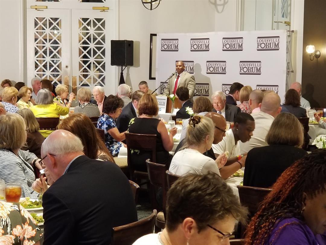 Interim Education Commissioner Wayne Lewis speaks during a Louisville Forum luncheon June 13.