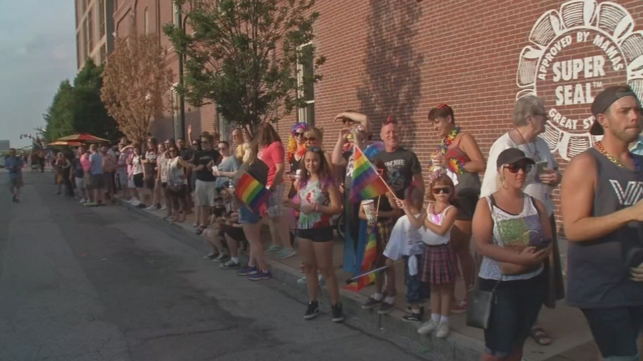 Crowds line the streets for the traditionally colorful Pride Parade.