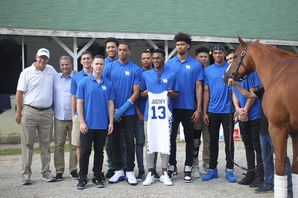 The University of Kentucky men's basketball team met Justify at Churchill Downs on Thursday. (Courtesy @KentuckyMBB)
