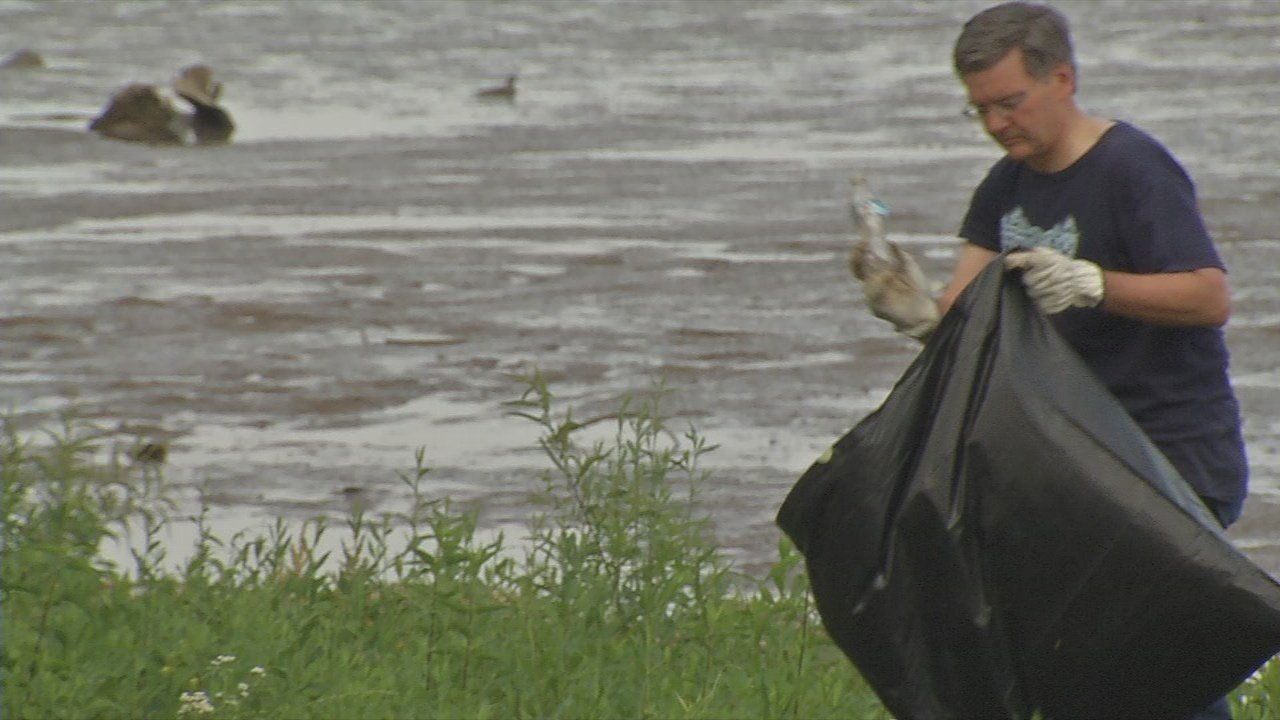 The annual Ohio River Cleanup removes about 40 tons of trash from the banks of the river.