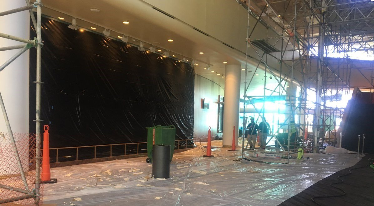 Kentucky Center officials allowed cameras inside to see damage from a fire on Wednesday.