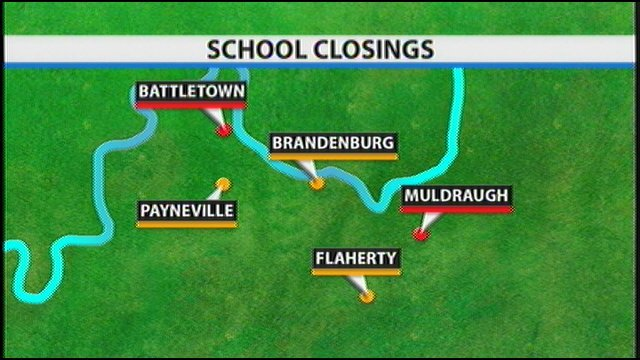 Schools to be closed marked in red; students will transfer to locations in yellow, according to tentative plans.