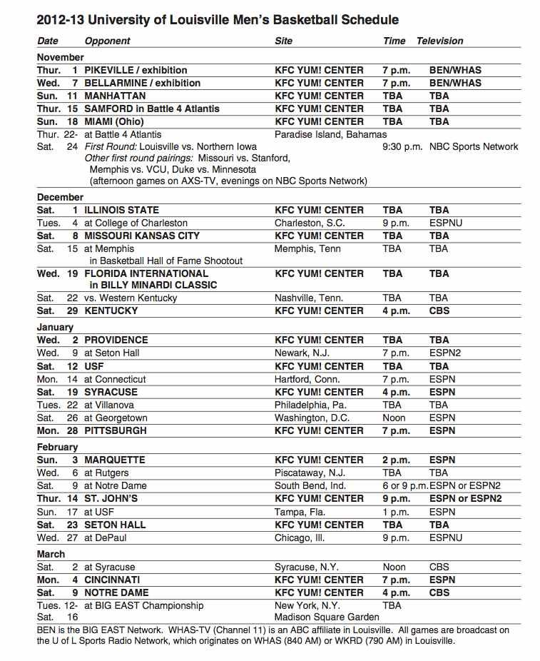 U of L 2012-13 men's basketball schedule