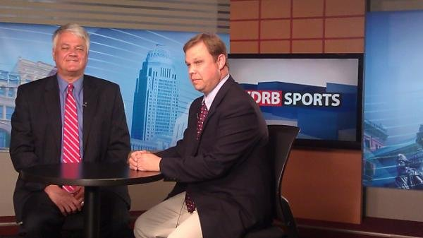 Rick Bozich, left, and Eric Crawford, right, in WDRB studio Monday night.