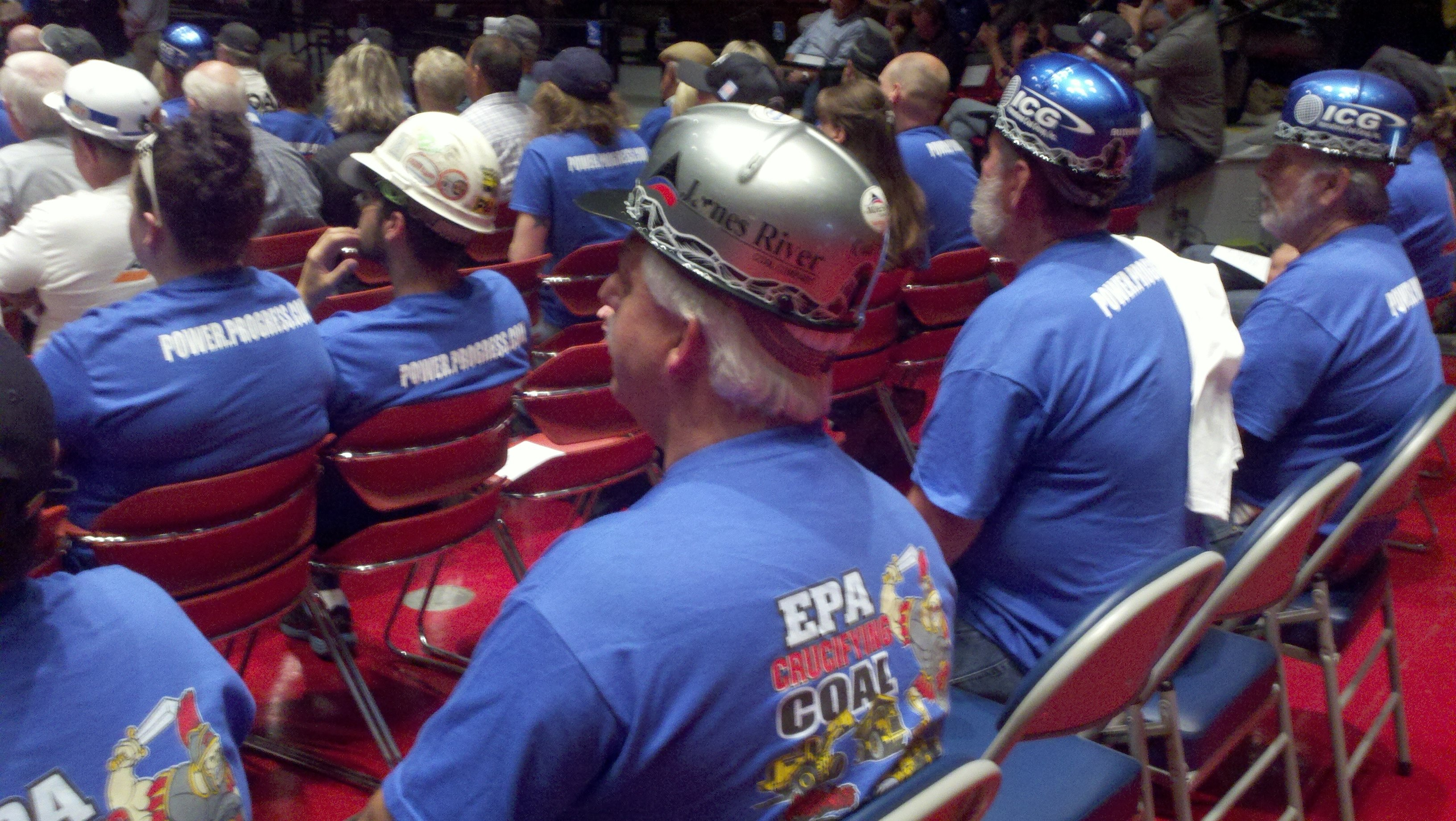 Coal interests wore special t-shirts at EPA hearing in Frankfort Tuesday evening. WDRB News photo.