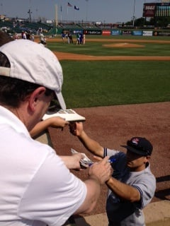 Barry Master, a 60-year-old Yankees' fan from Asheville, NC, has a ball signed by the Yankees' Corban Joseph.