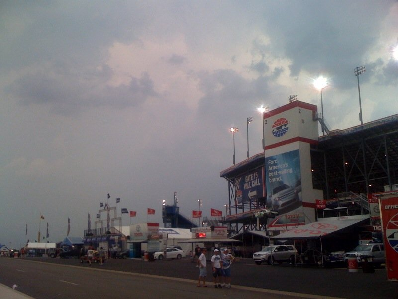 Grandstand at Kentucky Speedway, Sparta, after high winds blow at track Friday afternoon. WDRB News photos from Tamara Evans