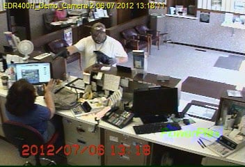 Bank surveillance image of Bank of Buffalo, Ky., suspected robber, July 6.  Photos provided by Ky. State Police