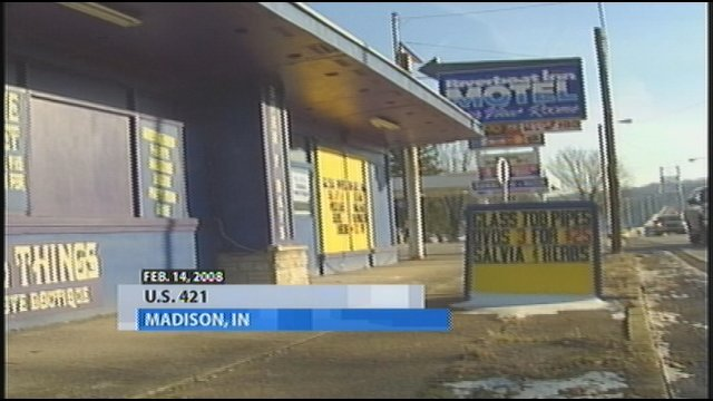 Needful Things store on U.S. 421 in Madison, Ind., Feb. 2008 WDRB image.