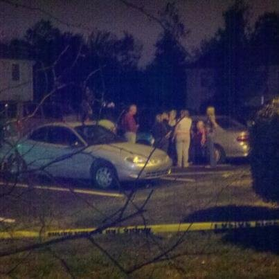 Police at scene of apparent murder in Plaza Square Apartments in New Albany, Ind., Friday night.  Tamara Evans/WDRB News