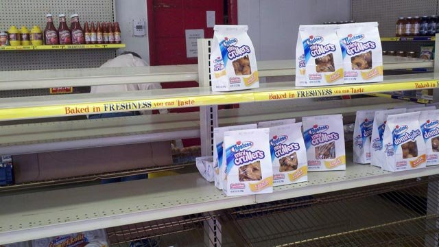 It was slim pickin's at the Hostess outlet in Jeffersonville Friday. Most shelves were bare.