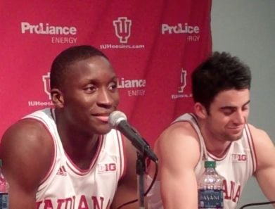 Victor Oladipo (left) and Will Sheehey each scored 19 points as Indiana defeated North Carolina, 83-59